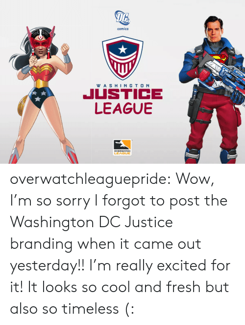 branding: 16  comics  WA SHINGTO N  JUSTICE  LEAGUBE  LEAGUE overwatchleaguepride:  Wow, I'm so sorry I forgot to post the Washington DC Justice branding when it came out yesterday!! I'm really excited for it! It looks so cool and fresh but also so timeless (: