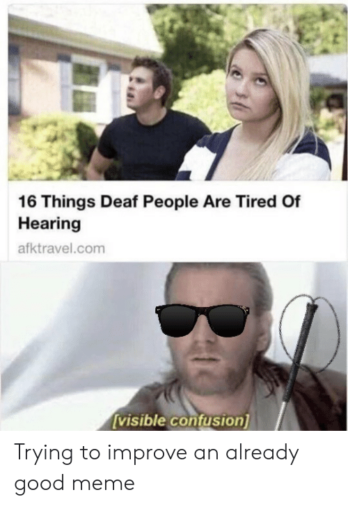 Meme, Good, and Com: 16 Things Deaf People Are Tired Of  Hearing  afktravel.com  visible contusion Trying to improve an already good meme