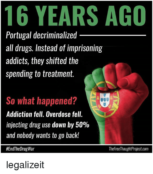 Injecting: 16 YEARS AGO  Portugal decriminalized  all drugs. Instead of imprisoning  addicts, they shifted the  spending to treatment.  So what happened?  Addiction fell. Overdose fell.  injecting drug use down by 50%  and nobody wants to go back!  #EndTheDrugWar  TheFreel houghtProject.com legalizeit