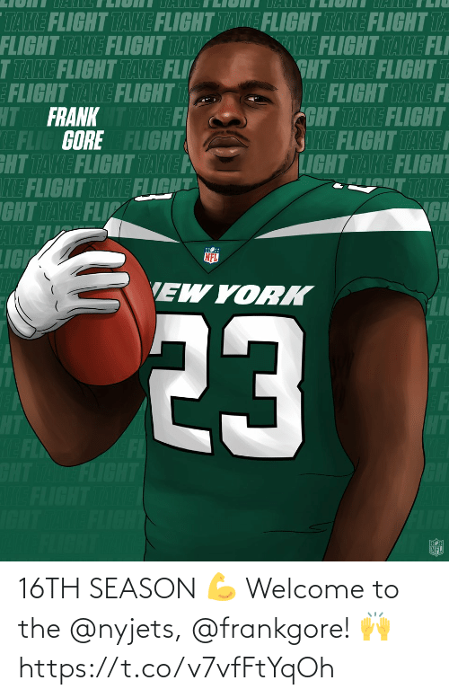 Welcome To: 16TH SEASON 💪  Welcome to the @nyjets, @frankgore! 🙌 https://t.co/v7vfFtYqOh
