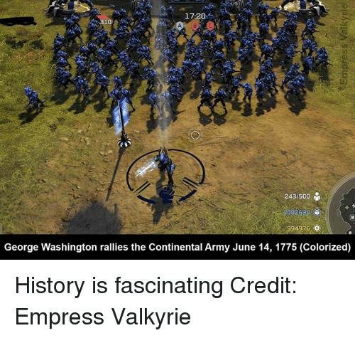valkyrie: 17:20  243/500  100263  4976  o  George Washington rallies the Continental Army June 14, 1775 (Colorized) History is fascinating  Credit: Empress Valkyrie