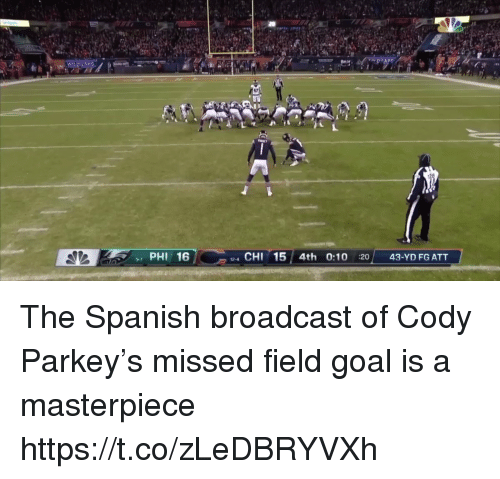 Football, Nfl, and Spanish: 17  PHI 16  4 CHI 15 4th 0:10 :20 43-YD FG ATT  9-7 The Spanish broadcast of Cody Parkey's missed field goal is a masterpiece https://t.co/zLeDBRYVXh