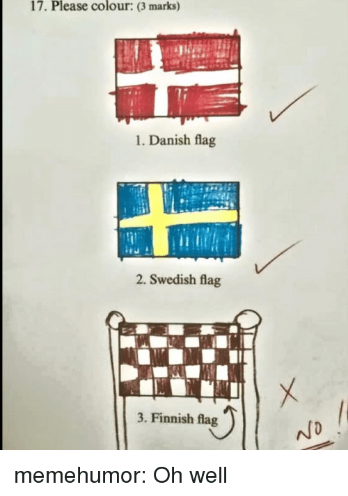 Tumblr, Blog, and Http: 17. Please colour: (3 marks)  1. Danish flag  2. Swedish flag  3. Finnish flag memehumor:  Oh well