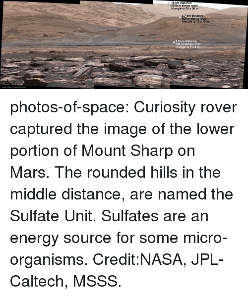 Energy, Nasa, and Tumblr: 18 km distance  2700 m above rover  triangle is 50 x 50 m  3.7 km distance  500 m above rover  triangle is 10 x 10 m  A3.0 km distance  340 m above rover  triangle is 8 x 8 m photos-of-space:  Curiosity rover captured the image of the lower portion of Mount Sharp on Mars. The rounded hills in the middle distance, are named the Sulfate Unit. Sulfates are an energy source for some micro-organisms. Credit:NASA, JPL-Caltech, MSSS.