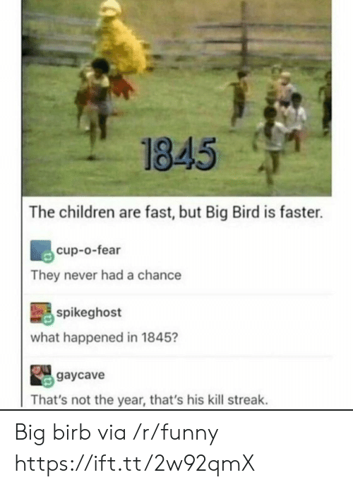Big Bird: 1845  The children are fast, but Big Bird is faster.  cup-o-fear  They never had a chance  spikeghost  what happened in 1845?  gaycave  That's not the year, that's his kill streak. Big birb via /r/funny https://ift.tt/2w92qmX