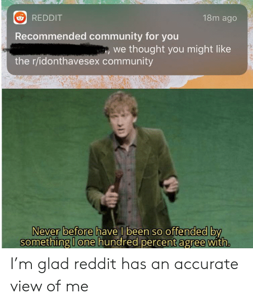 Community, Reddit, and Never: 18m ago  REDDIT  Recommended community for you  we thought you might like  the r/idonthavesex community  Never before have I been so offended by  something I one hundred percent agree with. I'm glad reddit has an accurate view of me
