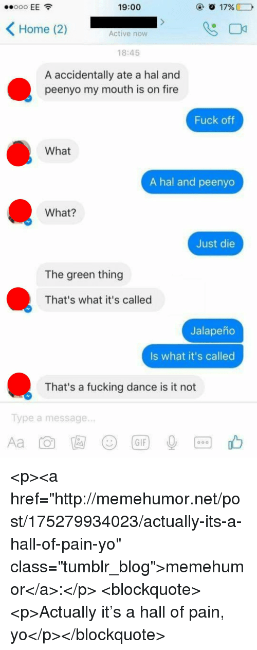"""Fire, Fucking, and Gif: 19:00  Home (2)  Active now  18:45  A accidentally ate a hal and  peenyo my mouth is on fire  Fuck oftf  What  A hal and peenyo  What?  Just die  The green thing  That's what it's called  Jalapeño  Is what it's called  That's a fucking dance is it not  Type a message.  じ)  (GIF <p><a href=""""http://memehumor.net/post/175279934023/actually-its-a-hall-of-pain-yo"""" class=""""tumblr_blog"""">memehumor</a>:</p>  <blockquote><p>Actually it's a hall of pain, yo</p></blockquote>"""