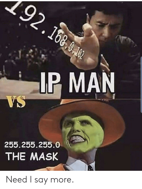 The Mask, Mask, and Ip Man: 192.160  IP MAN  VS  255.255.255.0  THE MASK Need I say more.