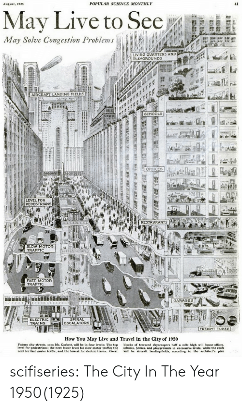 Future, Streets, and Traffic: 192  POPULAR SCIENCE MONTHLY  41  May Live to See  May Solve Congestion Problems  LIVING UARTERS AND  PLAYGROUNDS  AIRCRAPT LANDING FIELDS  SCHOOLS  OFFICES  LEVEL FOR  PEDESTRIANS  ft . RESTAURANTS  SLOW MOTOR  TRAFFIC  FAST MOTOR  TRAFFIC  GARAGES  ELECTRIC  TRAINS  SPIRAL  ESCALATORS  FREIGHT TUBES  How You May Live and Travel in the City of 1950  Future city streets, says Mr. Corbett, will be in four levels: The top blocks of terraced skyscrapers half a mile high wi house offices,  level for pedestrians; the next lower level for slow motor traffic; the schools, homes, and playgrounds in successive levels, while the roofs  next for fast motor traffic, and the lowest for electric trains. Great il bc aircraft landing-fields, according to the architect's plan scifiseries:  The City In The Year 1950(1925)