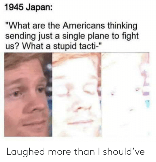 """Japan, Fight, and Single: 1945 Japan:  """"What are the Americans thinking  sending just a single plane to fight  us? What a stupid tacti-"""" Laughed more than I should've"""
