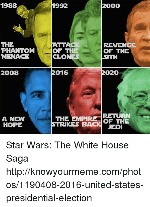 United Stated: 1988  THE  PHANTOM  MENACE  2008  A NEW  HOPE  2000  1992  ATTACI  REVENGE  OF THE  OF THE  CLONES  SITH  2020  2016  THE EMPIRE  RETURN  OF THE  STRIKES BACK JEDI Star Wars: The White House Saga http://knowyourmeme.com/photos/1190408-2016-united-states-presidential-election