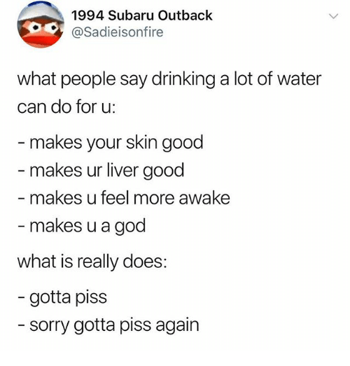 Drinking, God, and Memes: 1994 Subaru Outback  @Sadieisonfire  what people say drinking a lot of water  can do for u:  makes your skin good  makes ur liver good  makes u feel more awake  makes u a god  what is really does:  - gotta piss  sorry gotta piss again