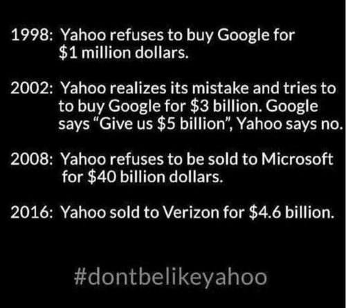 "Google, Microsoft, and Verizon: 1998: Yahoo refuses to buy Google for  $1 million dollars.  2002: Yahoo realizes its mistake and tries to  buy Google for $3 billion. Google  says ""Give us $5 billion"", Yahoo says no.  2008: Yahoo refuses to be sold to Microsoft  for $40 billion dollars.  2016: Yahoo sold to Verizon for $4.6 billion."