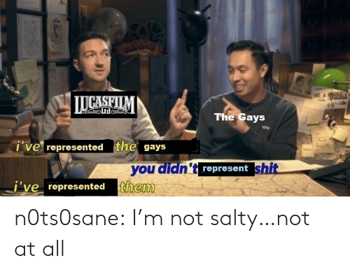Im Not: 1Dablia  LUCASFILM  Ltde  The Gays  i've represented the gays  you didn't represent shit  j've represented them n0ts0sane:  I'm not salty…not at all