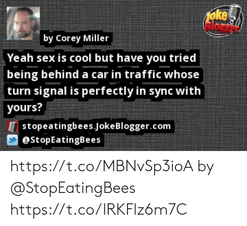 Memes, Sex, and Traffic: 1oke  lorc  by Corey Miller  Yeah sex is cool but have you tried  being behind a car in traffic whose  turn signal is perfectly in sync with  yours?  [stopeatingbees.Joke Blogger.com  @StopEatingBees https://t.co/MBNvSp3ioA by @StopEatingBees https://t.co/lRKFlz6m7C