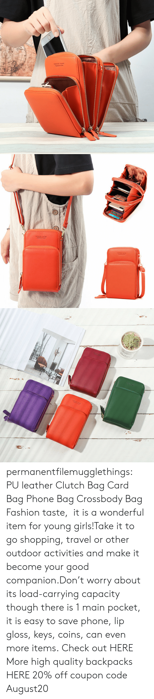 capacity: 1OREVER YOUN6  Orgnaly fom Kores   MOINING permanentfilemugglethings: PU leather Clutch Bag Card Bag Phone Bag Crossbody Bag Fashion taste, it is a wonderful item for young girls!Take it to go shopping, travel or other outdoor activities and make it become your good companion.Don't worry about its load-carrying capacity though there is 1 main pocket, it is easy to save phone, lip gloss, keys, coins, can even more items. Check out HERE More high quality backpacks HERE  20% off coupon code:August20