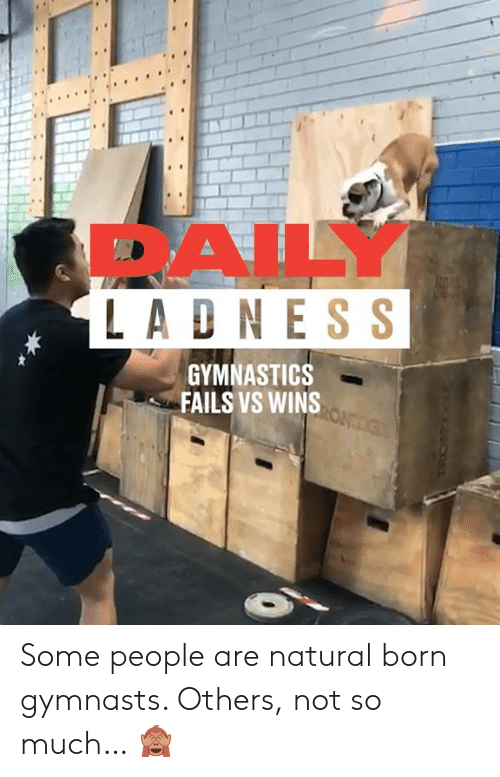 Dank, Gymnastics, and 🤖: 1s  DAILY  LADN ESS  GYMNASTICS  FAILS VS WINS Some people are natural born gymnasts. Others, not so much… 🙈