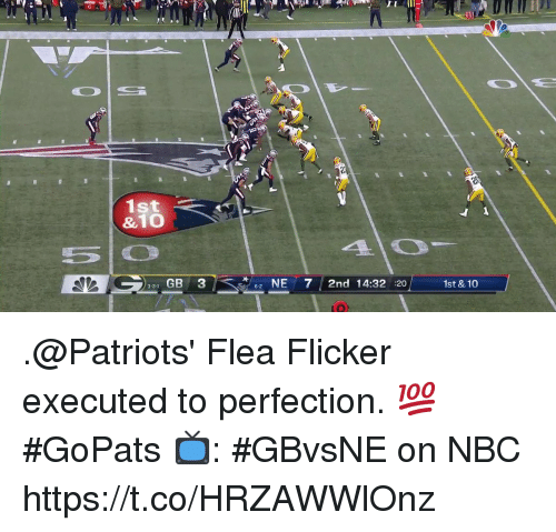 Memes, Patriotic, and Flea: 1st  &10  331 GB 3  2 NE7 2nd 14:32 :20  6-2  1st & 10 .@Patriots' Flea Flicker executed to perfection. 💯 #GoPats  📺: #GBvsNE on NBC https://t.co/HRZAWWlOnz