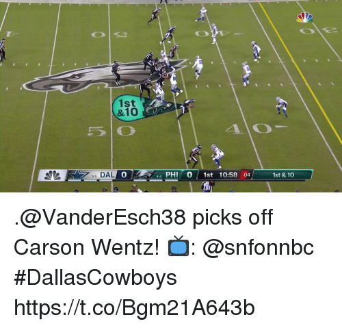 Memes, 🤖, and Phi: 1st  &10  35 DAL  0  44 PHI 0 1st 10:58 :04  1st & 10 .@VanderEsch38 picks off Carson Wentz!  📺: @snfonnbc #DallasCowboys https://t.co/Bgm21A643b