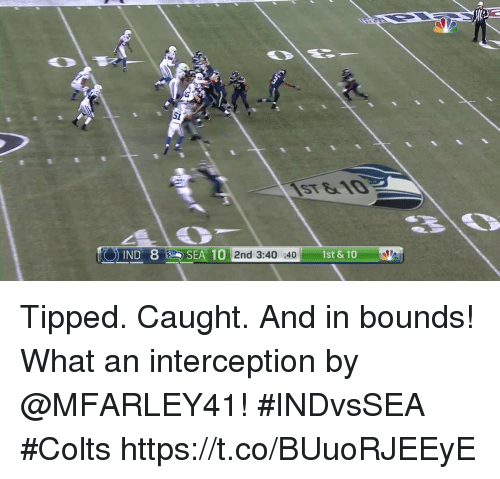 Indianapolis Colts, Memes, and 🤖: 1st & 10  IND  2nd 3:40 :40 Tipped. Caught. And in bounds!  What an interception by @MFARLEY41! #INDvsSEA #Colts https://t.co/BUuoRJEEyE