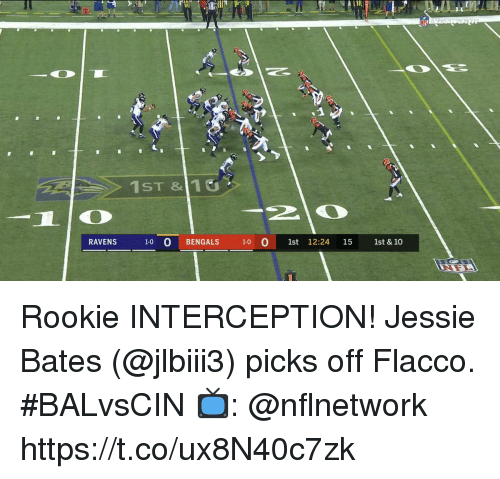 bates: 1ST &110  RAVENS  1-0 O BENG  ALS 10  1st 12:24 15  1st & 10 Rookie INTERCEPTION!  Jessie Bates (@jlbiii3) picks off Flacco. #BALvsCIN  📺: @nflnetwork https://t.co/ux8N40c7zk