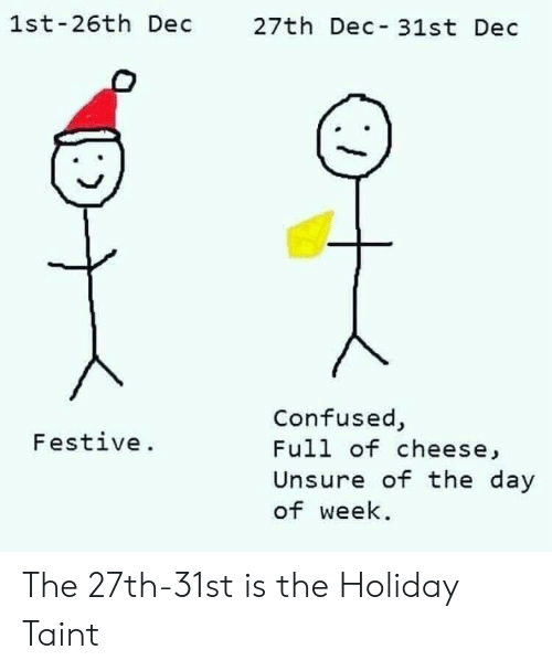 The Holiday: 1st-26th Dec 27th Dec 31st Dec  Confused,  Full of cheese,  Unsure of the day  of week  Festive. The 27th-31st is the Holiday Taint