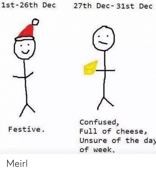 week: 1st-26th Dec  27th Dec-31st Dec  Confused,  Full of cheese,  Festive.  Unsure of the day  of week. Meirl