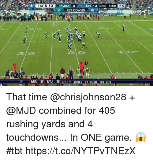 Memes, Tbt, and Game: 1ST DOWNS  MIA 30 NYJ 25 That time @chrisjohnson28 + @MJD combined for 405 rushing yards and 4 touchdowns...   In ONE game. 😱 #tbt https://t.co/NYTPvTNEzX