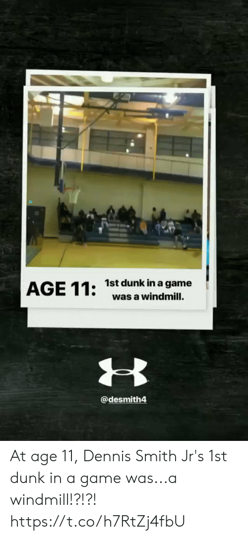 Smith: 1st dunk in a game  was a windmill.  @desmith4 At age 11, Dennis Smith Jr's 1st dunk in a game was...a windmill!?!?!   https://t.co/h7RtZj4fbU