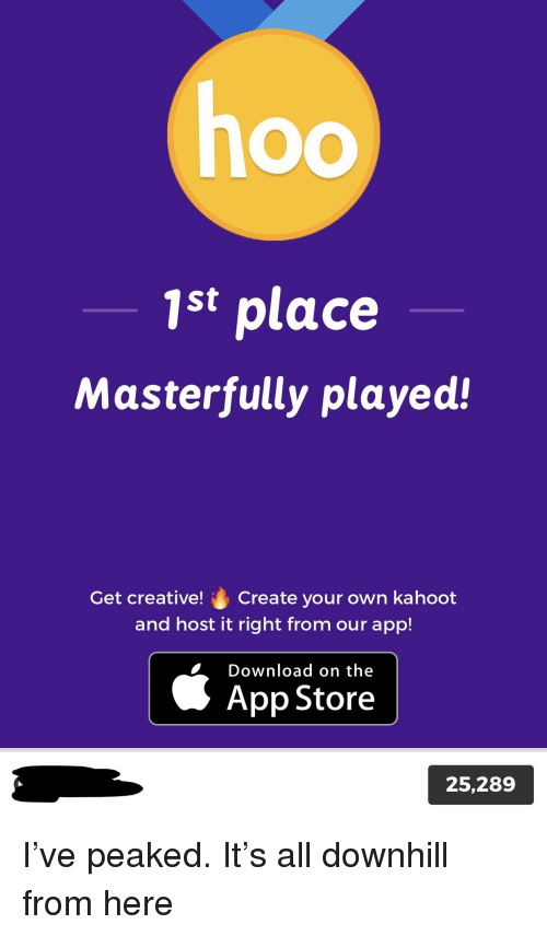 1st Place Masterfully Played! Get Creative! Create Your Own Kahoot