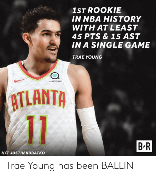 Nba, Game, and History: 1ST ROOKIE  IN NBA HISTORY  WITH AT LEAST  45 PTS & 15 AST  IN A SINGLE GAME  TRAE YOUNG  sharecare  ATLANTA  B R  H/T JUSTIN KUBATKO Trae Young has been BALLIN