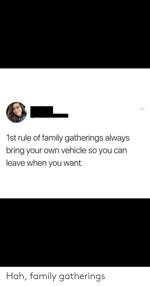 Family, Can, and Own: 1st rule of family gatherings always  bring your own vehicle so you can  leave when you want. Hah, family gatherings