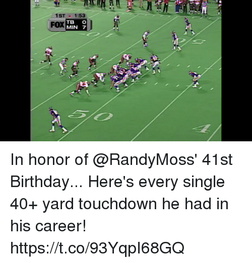 Birthday, Memes, and Single: 1ST1:53  FOX  TB C  MIN 7 In honor of @RandyMoss' 41st Birthday...  Here's every single 40+ yard touchdown he had in his career! https://t.co/93YqpI68GQ