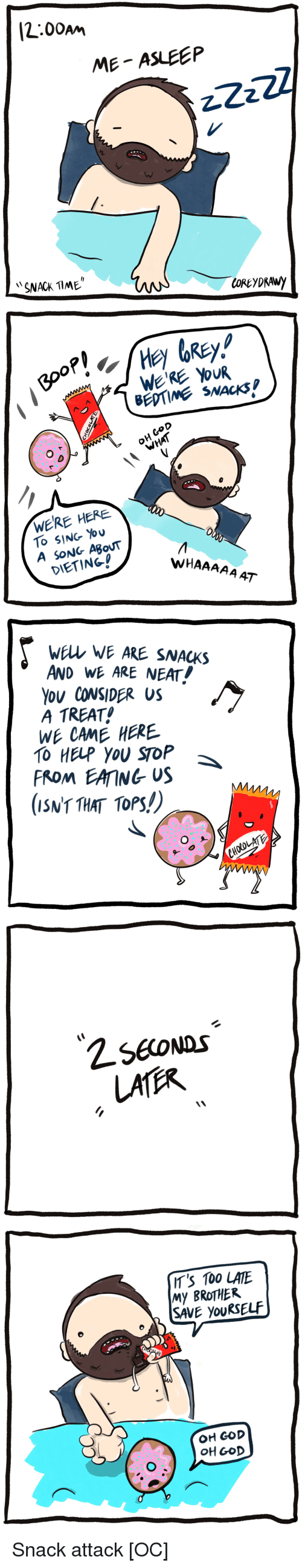 Anaconda, Dieting, and God: [2:00am  ME ASLEEP  SNACK TlME   BEDTIME SNACKS  O D  OH CoD  WERE HERE  To SING You  A SONG ABouT  DIETING!  WHAAAAA AT   wELL WE ARE SNACKS  AND WE ARE NEAT!  Ou CONSIDER US  A TREAT  WE CAME HERE  TO HELP YOU SToP  FROM EAING US  (ISNT THAT TOPS!)   IT'S 100 LATE  My BROTHER  SAVE youRSELF  OH GOD  OH GOD Snack attack [OC]