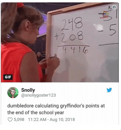 Dumbledore, Gif, and School: + 2 08  441  GIF  Snolly  @snollygoster123  dumbledore calculating gryffindor's points at  the end of the school year  5,098  1 1 :22 AM-Aug 10, 2018