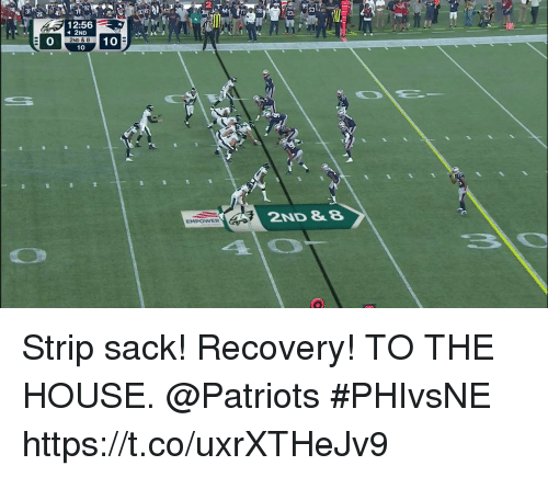 Memes, Patriotic, and House: 2  30  4  12:56  GA2ND  0  2ND & 8  10 10  2ND &8  EMPOWER Strip sack! Recovery!  TO THE HOUSE. @Patriots #PHIvsNE https://t.co/uxrXTHeJv9
