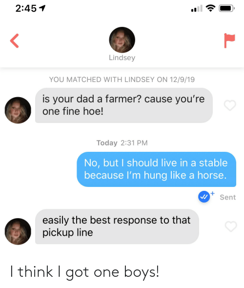 No But: 2:45 1  Lindsey  YOU MATCHED WITH LINDSEY ON 12/9/19  is your dad a farmer? cause you're  one fine hoe!  Today 2:31 PM  No, but I should live in a stable  because l'm hung like a horse.  Sent  easily the best response to that  pickup line I think I got one boys!