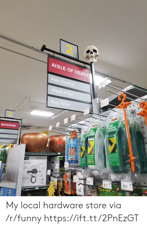 Funny, Weed, and Control: 2.  AISLE OF DEATH  Pest Control  Weed Killer  Bug Killer  3  WATERING  ses  Basics  se Reels  e Hangers  RD  WALL MOUNT  SWIVEL REE  EASY ASSEMBLY  Crank Gop  Heavy Duty Bracket  Mouning System  WEB  Can Oper 4t v My local hardware store via /r/funny https://ift.tt/2PnEzGT
