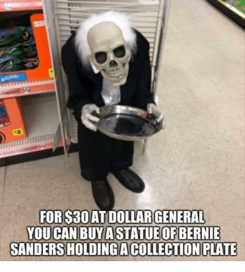 Memes, Bernie, and 🤖: .2  ATDOLLAR  SANDERS HOLDING ACOLLECTİONPLATE  FOR $30  GENERAL  ATUE OF BERNIE