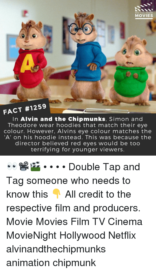 alvin and the chipmunks: 2  DID YOU KNOW  MOVIES  FACT #1259  In Alvin and the Chipmunks, Simon and  Theodore wear hoodies that match their eye  colour. However, Alvins eye colour matches the  'A' on his hoodie instead. This was because the  director believed red eyes would be too  terrifying for younger viewers. 👀📽️🎬 • • • • Double Tap and Tag someone who needs to know this 👇 All credit to the respective film and producers. Movie Movies Film TV Cinema MovieNight Hollywood Netflix alvinandthechipmunks animation chipmunk