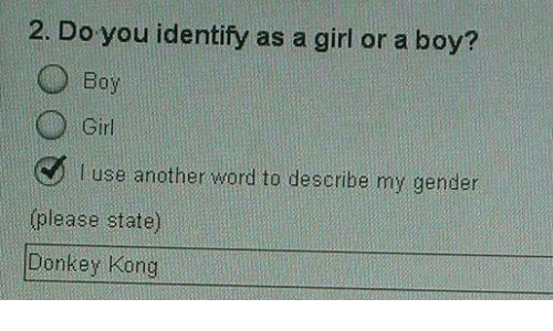 donkeys: 2. Do you identify as a girl or a boy?  O Girl  l Use another word to describe my gender  please state)  Donkey Kong