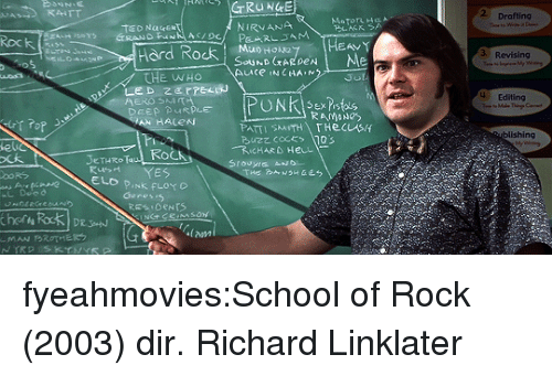 Pink Floyd: 2 Drafting  NIRVANA  Rock  3 Revising  ard RocK , souhDoraye HEAVY  THE WHo  4 Editing  Sex is  ishing  Fi  le  ㄨ大  eTHRRo  ELD PINk FLOYD  Genesis  lam fyeahmovies:School of Rock (2003) dir. Richard Linklater