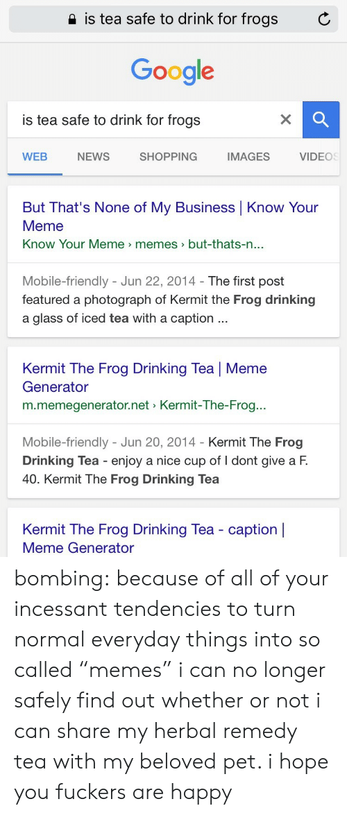 "know your meme: 2 is tea safe to drink for frogs  C  Google  is tea safe to drink for frogs  WEB  NEWS  SHOPPING  IMAGES  VIDEOS  But That's None of My Business Know Your  Meme  Know Your Meme memes>but-thats-n  ...  Mobile-friendly - Jun 22, 2014- The first post  featured a photograph of Kermit the Frog drinking  a glass of iced tea with a caption  Kermit The Frog Drinking Tea | Meme  Generator  m.memegenerator.net Kermit-The-Frog..  Mobile-friendly - Jun 20, 2014 - Kermit The Frog  Drinking Tea enjoy a nice cup of I dont give a F.  40. Kermit The Frog Drinking Tea  Kermit The Frog Drinking Tea - caption |  Meme Generator bombing:  because of all of your incessant tendencies to turn normal everyday things into so called ""memes"" i can no longer safely find out whether or not i can share my herbal remedy tea with my beloved pet. i hope you fuckers are happy"