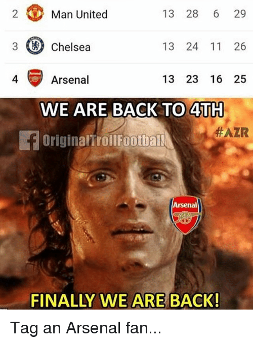 Arsenal, Chelsea, and Memes: 2  Man United  13 28 6 29  3 Chelsea  13 24 11 26  4 Arsenal  13 23 16 25  WE ARE BACK TO 4TH  OriginalirolFootball  FAZK  Arsenal  FINALLY WE ARE BACK! Tag an Arsenal fan...