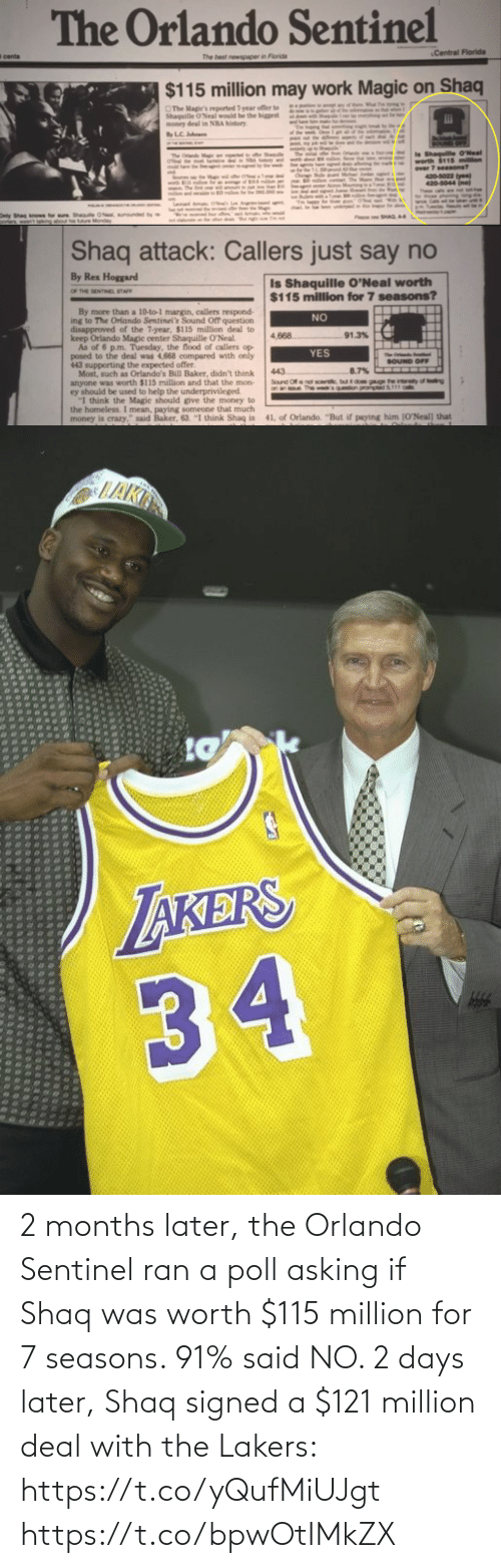 Asking: 2 months later, the Orlando Sentinel ran a poll asking if Shaq was worth $115 million for 7 seasons. 91% said NO.   2 days later, Shaq signed a $121 million deal with the Lakers: https://t.co/yQufMiUJgt https://t.co/bpwOtIMkZX