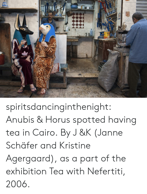 Spotted: 2  NEI spiritsdancinginthenight:  Anubis & Horus spotted having tea in Cairo. By J &K (Janne Schäfer and Kristine Agergaard), as a part of the exhibition Tea with Nefertiti, 2006.