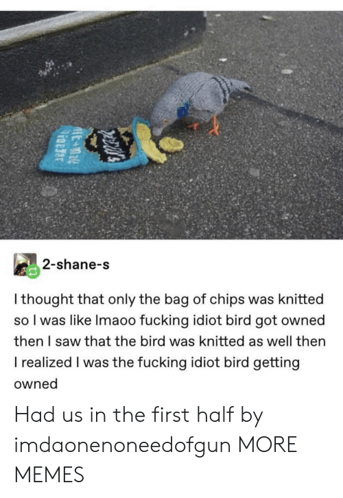 Dank, Fucking, and Memes: 2-shane-s  I thought that only the bag of chips was knitted  so I was like Imaoo fucking idiot bird got owned  then I saw that the bird was knitted as well then  I realized I was the fucking idiot bird getting  owned Had us in the first half by imdaonenoneedofgun MORE MEMES
