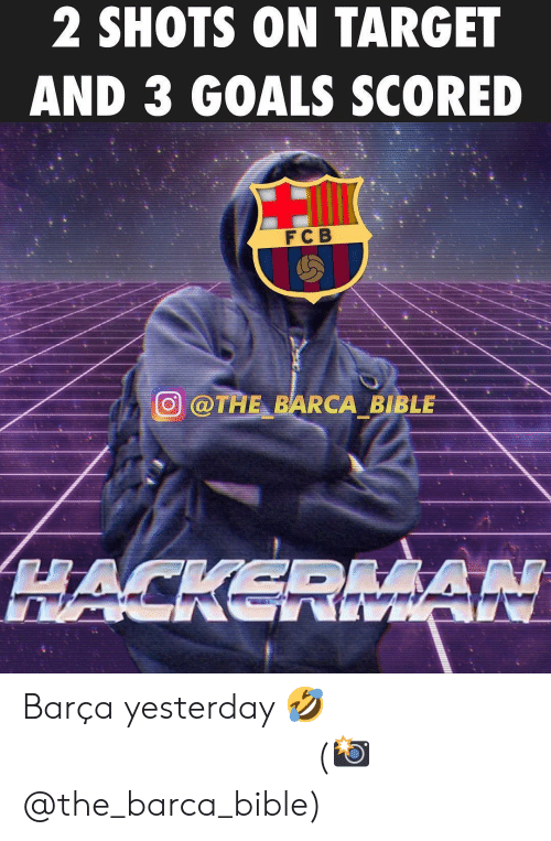 Goals, Memes, and Target: 2 SHOTS ON TARGET  AND 3 GOALS SCORED  FC B  廻@TAE-BARCA BIBLE Barça yesterday 🤣 ⠀⠀⠀⠀⠀⠀⠀⠀⠀⠀⠀ (📸 @the_barca_bible)
