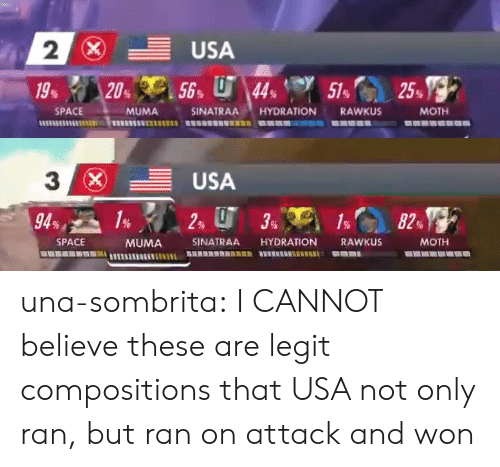 Tumblr, Blog, and Space: 2  SPACE  MUMA  SINATRAA HYDRATION RAWKUS  MOTH   3  (x)  -USA  SPACE  MUMA SINATRAA HYDRATION RAWKUS  MOTH una-sombrita: I CANNOT believe these are legit compositions that USA not only ran, but ran on attack and won