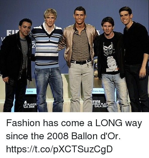 Fashion, Fifa, and Soccer: 2  tors  FIFA  LD  GALA  D PLAYER Fashion has come a LONG way since the 2008 Ballon d'Or. https://t.co/pXCTSuzCgD